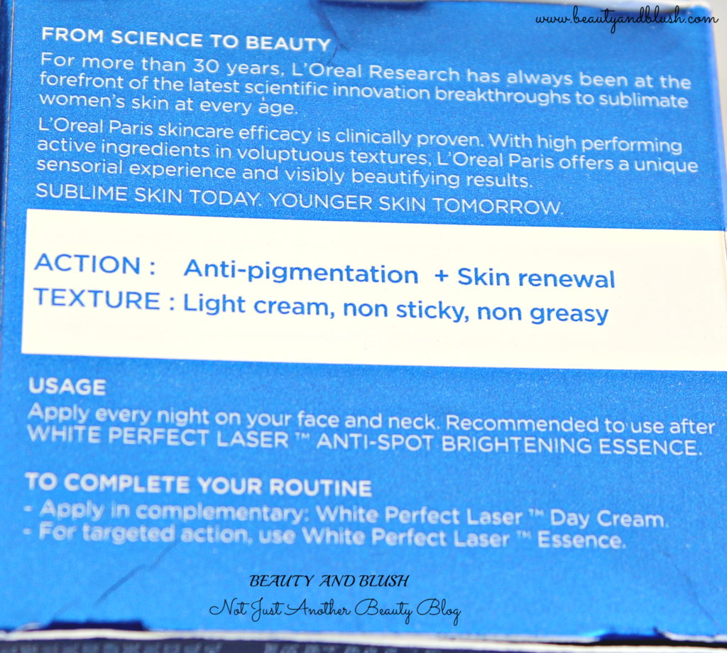 L'Oreal Paris White Perfect Laser Overnight Treatment Review